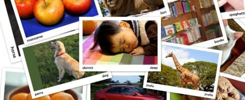 Tarjetas imprimibles para tu bebé español-inglés: las primeras palabras